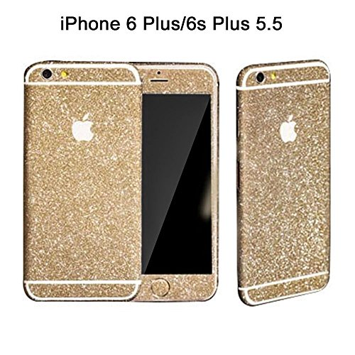 Supstar Full Body Luxury Bling Glitter Crystal Diamond Guardshield Matte Shinning Screen Protector Film Sparkly Sticker for iPhone 6 Plus / 6S Plus (5.5inch: Gold) (Sticker Screen Protector)