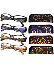 4-Pack Geometric Design Temples Reading Glasses for Women Readers