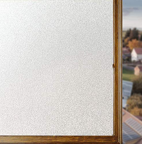 Total Privacy Window Film Frosted Glass Vinyl Film - Privacy Window Treatment for Bathroom/Home/Office - Self Adhesive Window Paper, Heat Control, UV Prevention (35.4 X 78.7 Inch,White)
