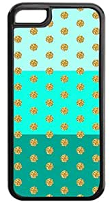 Colorblocked Stripes and Glitter PRINT Polka Dots (Blues) - Case for the APPLE IPHONE 6 plus 5.5'' ONLY-Hard Black Plastic Outer Case