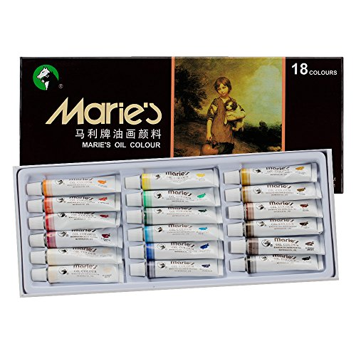 Marie's Extra-Fine Artists' Oil Paint, Highly Concentrated Colors - Oil Based Paint Set of 18, 12ml Tubes Vibrant Colors Paint (12 Oil Colours)