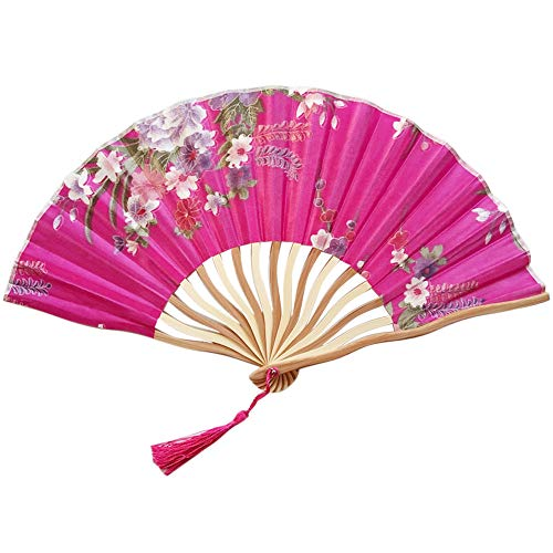 NEARTIME Chinese Style Hand Held Fan Bamboo Paper Folding Fan Party Wedding Decor (Free Size, -