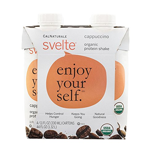 Svelte Organic Protein Shake, Cappuccino, 11 Ounce, 4 Count (Pack of 6)