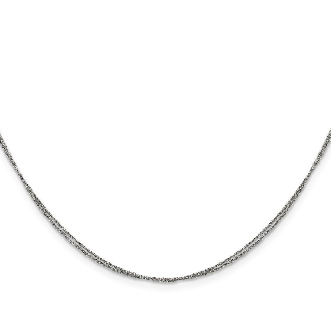 ICE CARATS 14k White Gold .75 Mm Double Strand Ropa Chain Necklace 16 Inch Rope Str Fine Jewelry Ideal Mothers Day Gifts For Mom Women Gift Set From Heart