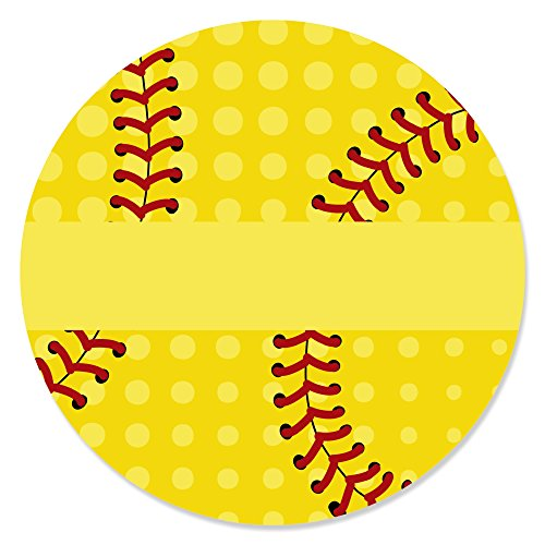 Grand Slam - Fastpitch Softball - Birthday Party or Baby Shower Circle Sticker Labels - 24 Count ()