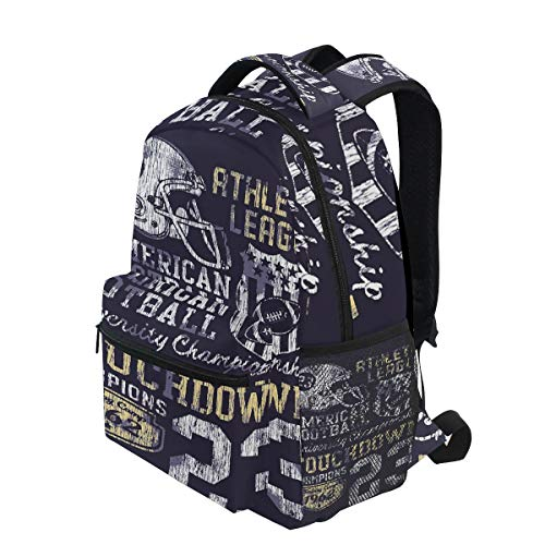 KVMV Retro Style American Football College Theme Illustration Athletic Championship Apparel Lightweight School Backpack Students College Bag Travel Hiking Camping Bags -