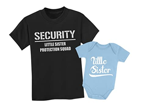 e5f304e04dea Amazon.com: Big Brother & Little Sister Siblings Set - Security For My  Little Sister Shirts: Clothing