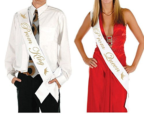 Prom King And Queen (Ikooo 2 Pcs Prom King and Queen Satin Sash Gold letter with Crown Sash)