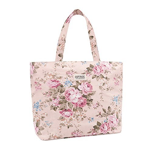 Lvtree Tote Shoulder Bag Handbag, Foldable Wallets Purse Bag for Outdoors Gym Hiking Picnic Travel Beach, Pink Rose