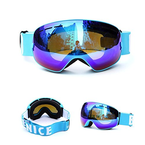 Ladies Snowboarding (Yougeyu Ski Snowboard Goggles Windproof Anti-fog Dustproof Impact Resistance Adjustable Detachable Fashionable Goggle for Skiing Skating Snowmobile)