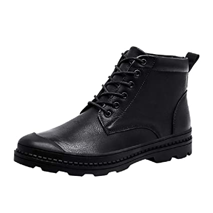 Dreamyth Unisex Casual Lace-up Shoes Mens Leisure Leather Round Toe Sport Shoe Lace-Up Flat Sneakers Military Boots