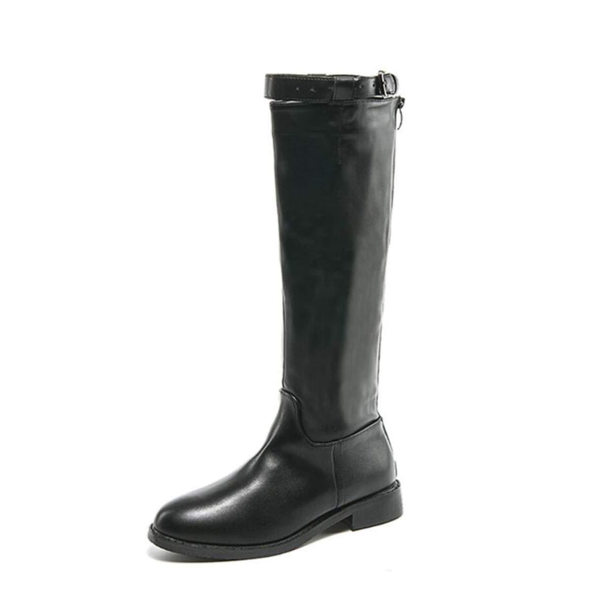 Fall Womens Low Flat Heel Riding Biker Boots Ladies Knee High Fashion Knight Boots Black