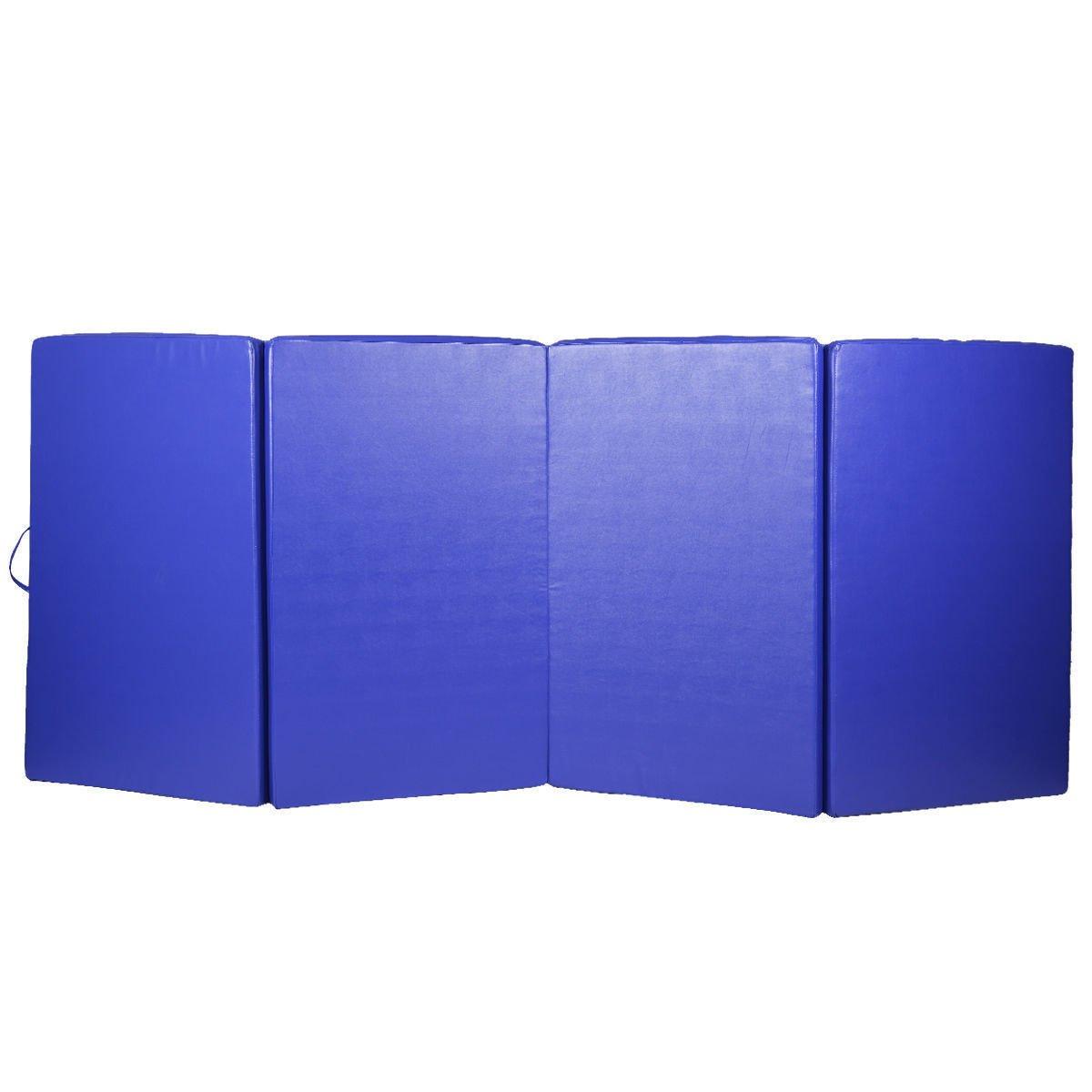 4'x10'x2'' Gymnastics Mat Blue Gym Folding Exercise Mats Stretching Yoga for yoga.