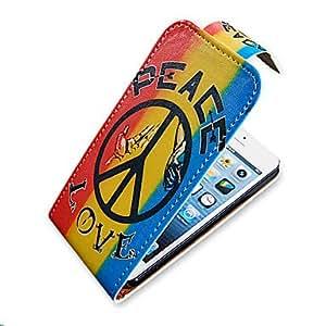 S¨ªmbolo de paz de Up-Down Turn Over PU Leather Case Bady completa para el iPhone 5/5S