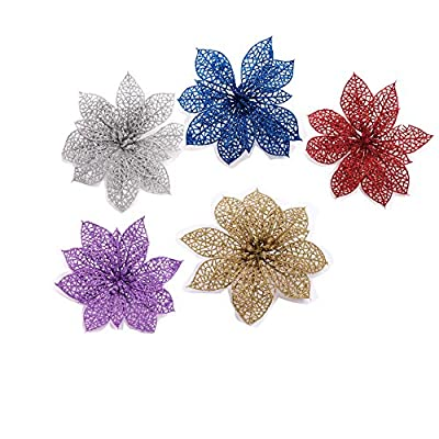 Crazy Night (Pack of 10) Glitter Poinsettia Christmas Tree Ornaments