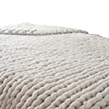 Naladoo 100X80cm Hand Chunky Knitted Blanket Thick Wool Bulky Knitting Throw (Beige)