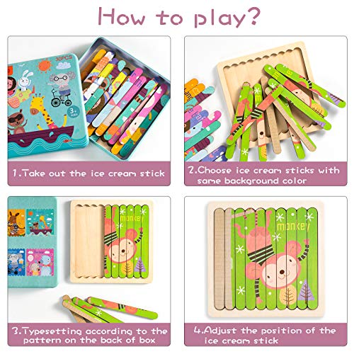 DiYiMi Wood Animal Puzzle Stick - Animal Jigsaw Puzzles Set, Wooden Board Bar Sorting and Stacking Toys, Montessori Educational Gifts for Toddler Kids Age 2+ (30 Pieces & 6 Patterns) (Multi-Color)