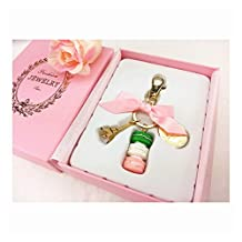 DATON Birthday Gift Cake Keychain With Box France Paris LADUREE Effiel Tower Macarons Ribbon Keyrings Bag Charm Accessories