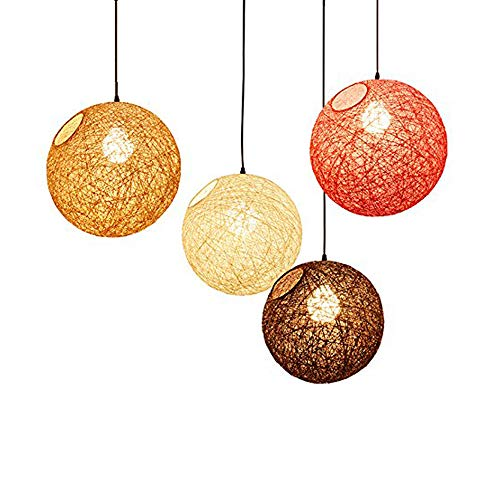 (Modern Lattice Wicker Rattan Globe Ball Style Ceiling Pendant Light Lampshade Home Dining Decoration Lamps 23 cm)