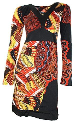 # 666de tous les simplement robe patchwork Étui robe à manches longues T-shirt Long hiver Tunique Noir