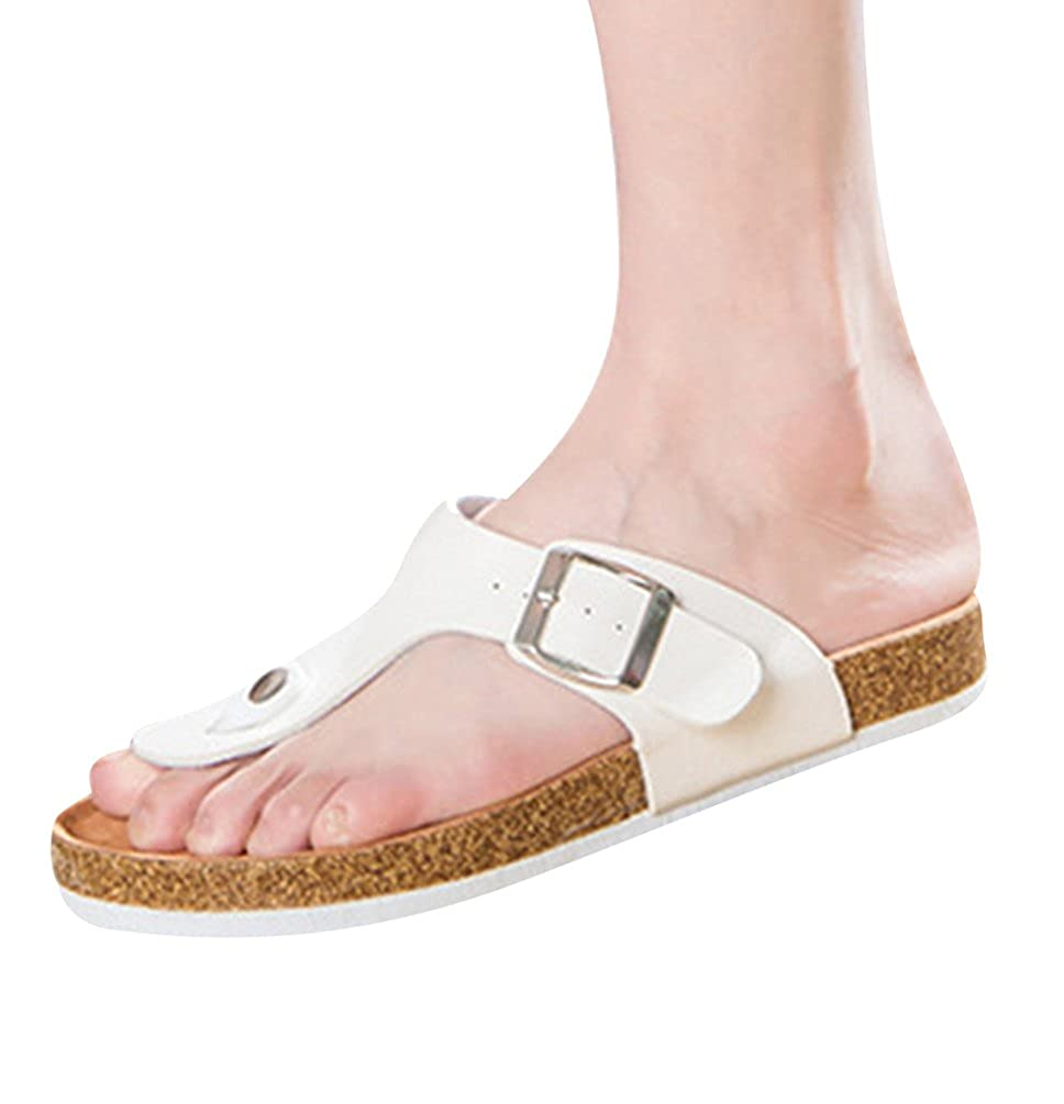 597aeb8f3061 ZKOO Unisex Flip Flops Cork Flat Sandals Beach Shoes PU Leather Strap Sandals  Slippers Shoes with Buttons Men Women Summer Casual White  Amazon.co.uk   Shoes ...