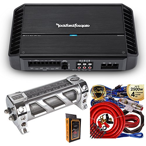 Rockford Fosgate P600X4 600 Watts Punch Series 4-Channel Stereo Class AB Car Power Amplifier with 3.5 Farad Capacitor & 4 Channel Amp Kit