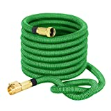 VicTsing 50ft Expanding Garden Hose, Strongest Expandable Hose with Solid Brass Connector, 3750 x 3750 Denier Woven Casing for Watering Plants,Auto Wash,Cleaning Patio + Free Storage Bag(Green)