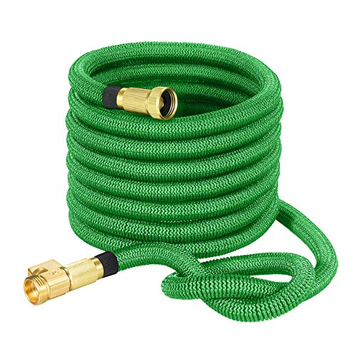 TopRay 50ft Garden Hose, Expandable Water Hose with Double Latex Core, 3/4 Solid Brass Fittings & Extra Strength Fabric, Lightweight but More Durable, Free Storage Sack Gift Included