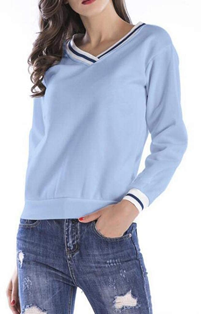 FSSE Womens Pure Color Long Sleeve Casual Faux Fur Lined Pullover Sweatshirt