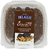 DeLallo Chocolate Biscotti, Almond, 7-Ounce (Pack of 4)