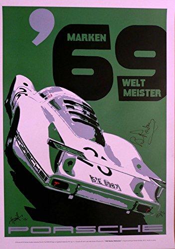 Autographed Art poster. Porsche 908LH by Nicolas Hunziker Spa 1969 Siffert/Redman victory. Signed by Brian Redman.