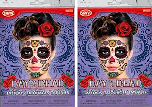 Temporary Tattoo Purple Package (Sugar Skull Day of the Dead Temporary Tattoo - Bundle of TWO! (Purple Package))