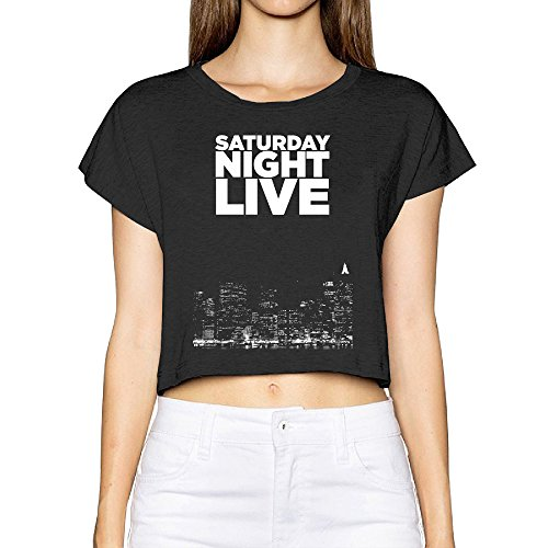 Saturday Night Live Art T Shirt Woman's Screen Print Crop Top Bare Midriff Tee (1970s Knit Top)
