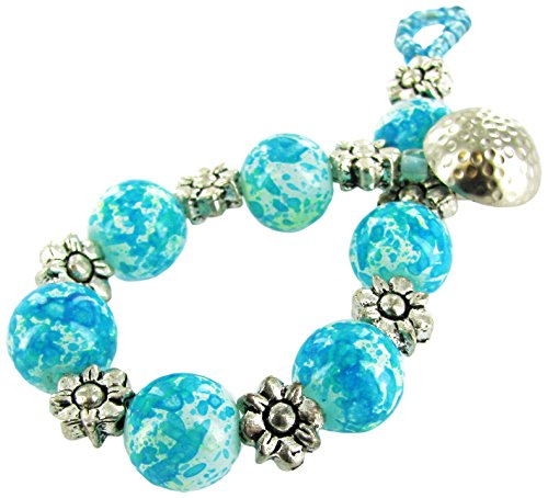 Linpeng Grain Patterned Glass Beads & Flower Spacers Fancy Button Toggle Bracelet, Turquoise