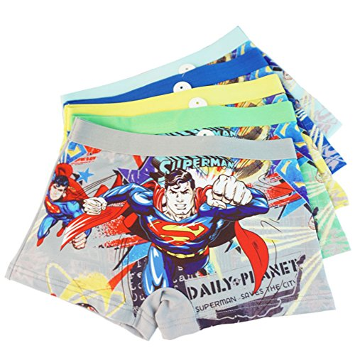 3-8 Years Old Boys Superman Boxer Briefs Hero-Themed Underwear 5 Multipack ()