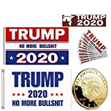 Trump 2020 Mega Bundle Election Gift 3x5 Flag Gold Coin Bumper Sticker Keep America Great Re Elect Donald No More Bull