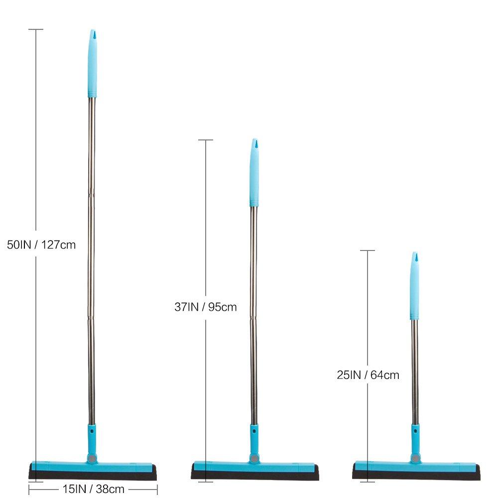 KOLLIEE Commercial Floor Squeegee Adjustable Professional Water Squeegee Foam With 50'' Handle for Garage Tile Shower Hair Floor Wiper