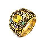 Joyfunny Thanos Power Ring Deluxe Infinity Cosplay Golden Ring with Crystals Costume Prop A-9
