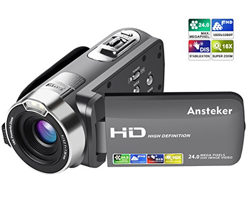 Ansteker Video camera camcorders, HD Video Camera with 1080P 24MP 16X Digital Camcorders with 3.0 Inch LCD 270 Degree Rotation Screen by Ansteker