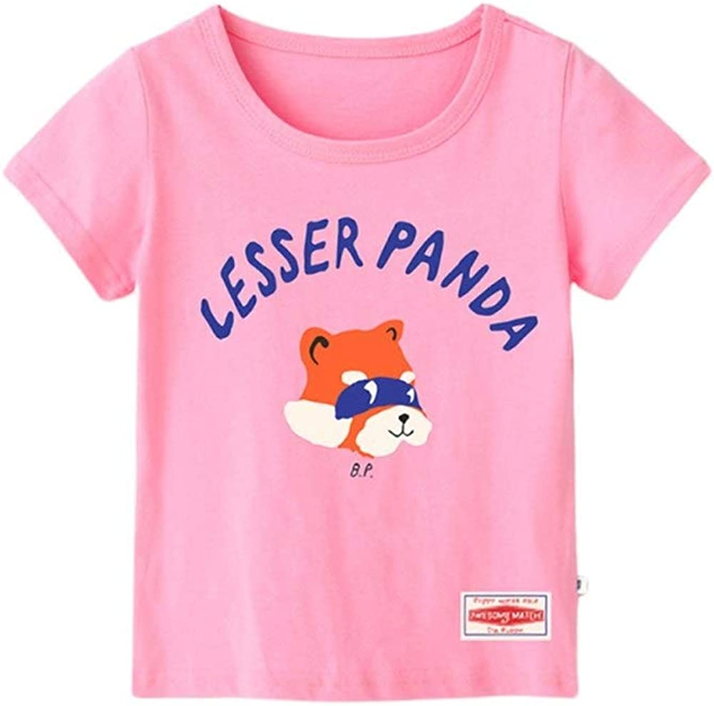 Eveliyning Toddler Kids Summer Playwear Cotton Outfit Round Collar T-Shirt with Adorable Raccoon Printing Design Babyboy Short Sleeve Fashion Wild Loose Babys Solid Color Tops Pink
