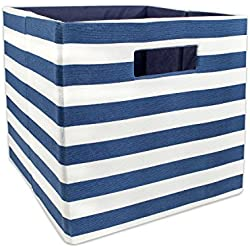 "DII Hard Sided Collapsible Fabric Storage Container for Nursery, Offices, & Home Organization, (11x11x11"") - Stripe Nautical Blue"