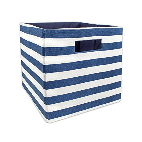 DII Hard Sided Collapsible Fabric Storage Container for Nursery, Offices, Home Organization, (11x11x11) - Stripe Nautical (Hard Cube)
