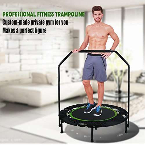 Mini Foldable Trampoline with Handle Bar, 40'' Foldable Rebounder Fitness Exercise Trampoline Adjustable Handrail Cardio Workout Training for Adults Kids Red(Max. Load 300lbs,Kids Age 12+) by Todens