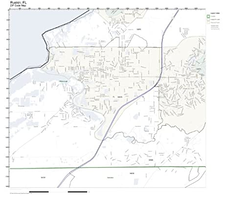 Ruskin Florida Map.Amazon Com Zip Code Wall Map Of Ruskin Fl Zip Code Map Laminated