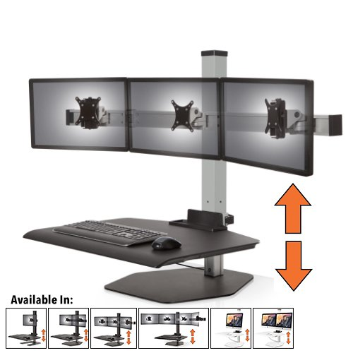 (Stand Steady Winston Workstation Triple Monitor Mount Sit-Stand Desk (Innovative WNST-3) | Three Monitor Standing Desk Workstation Converter with VESA Mount| Height Adjustable! (3 Monitor/Silver))
