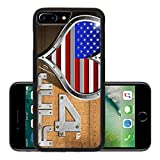 Liili Premium Apple iPhone 7 Plus Aluminum Backplate Bumper Snap Case iPhone7 Plus ID: 28625458 Metal porthole heart shape with US flag interior on wooden wall with phrase 4th of July Independence D