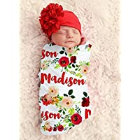 Baby Girl Red Floral Personalized Baby Blanket Personalized Swaddle Blanket Baby Girl Receiving Blanket Monogram Flowers