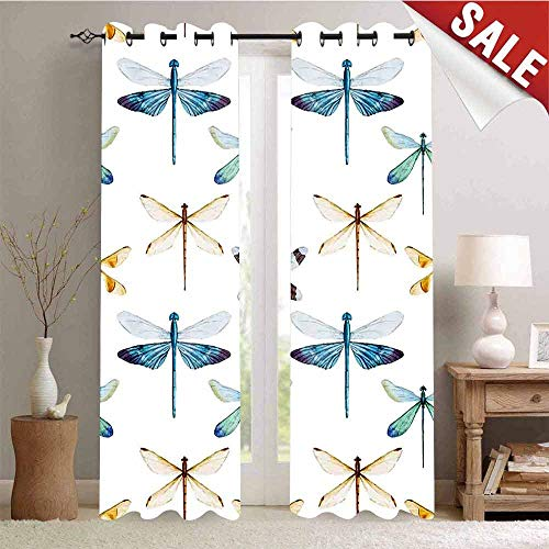 Hengshu Window Curtain Drape Collection of Regularly Lined Up Limitless Dragonfly Patterns Short Lives Symbol Customized Curtains W96 x L96 Inch Orange Blue