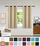 Yakamok Blackout Curtains Panels - Triple Weave Fabric Noise Reducing Thermal Insulated Solid Ring Top Blackout Window Drapes (Two Panels, 42 x 63 Inch, Beige)