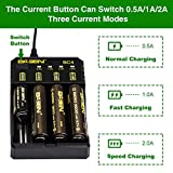 Fast 18650 Battery Charger, Intelligent USB Charger with Temperature Adjustment Function for 3.7V Rechargeable Battery Li-Ion IMR 26650 20700 21700 14500 18350 18500